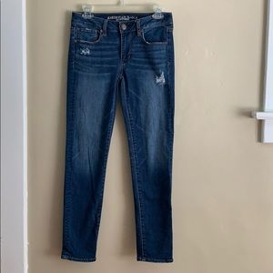 AE Super Stretch Distressed Skinny Jeans, Size 2